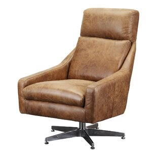 Union Rustic Darshan Leather Swivel Side Chair