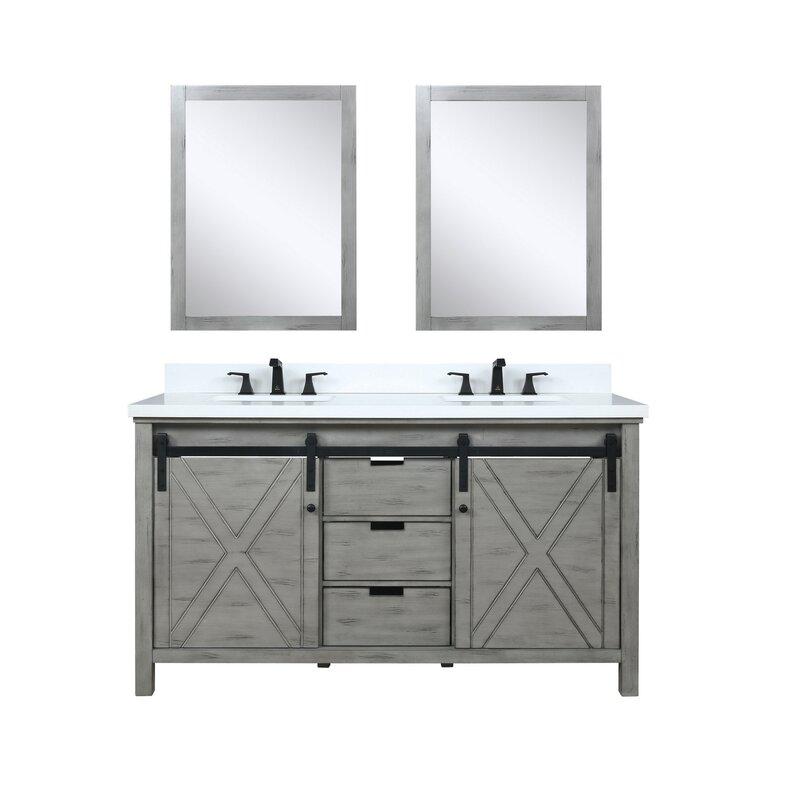 Gracie Oaks Schmidt 60 Double Bathroom Vanity Set With Mirror Wayfair
