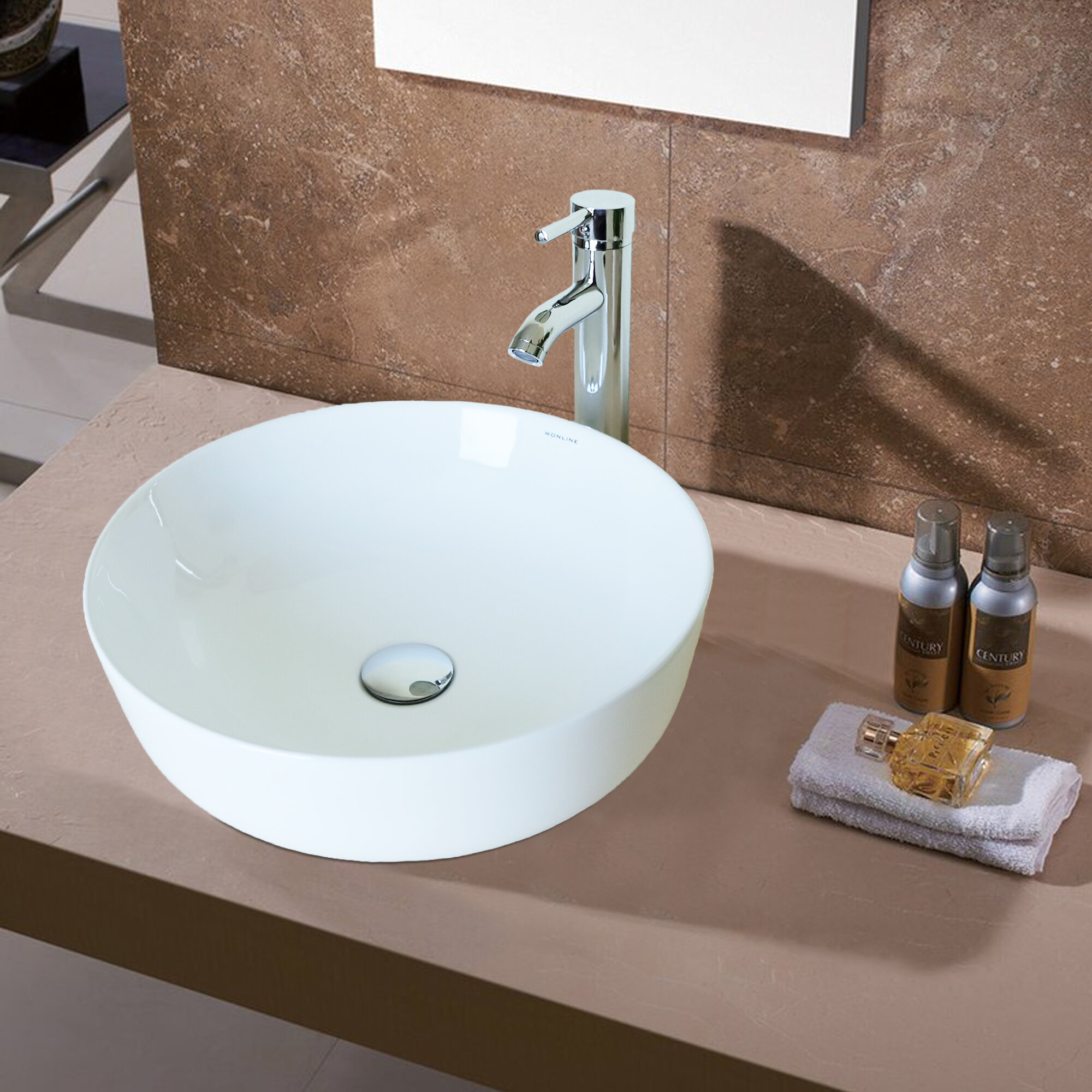 Flanna Tall Transparent Glass Oval Console Bathroom Sink With Faucet Wayfair