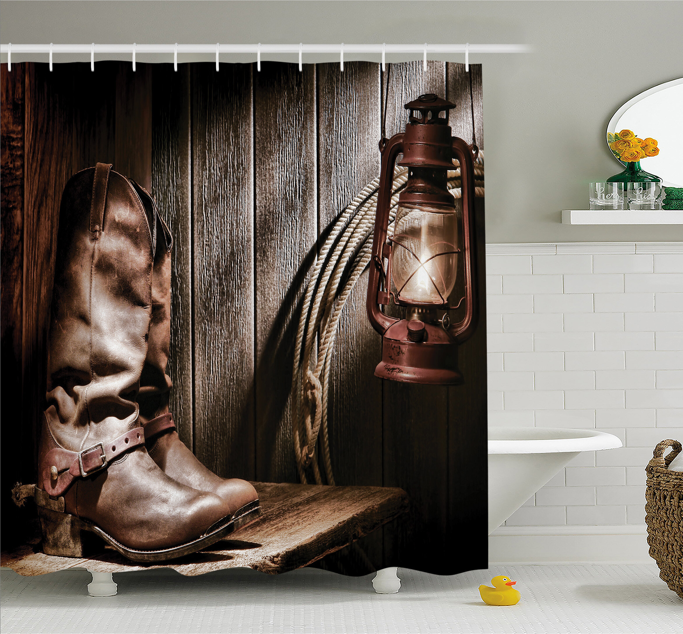 Ambesonne Western Dallas Cowboys And Lantern On A Bench In Vintage Ranch Nostalgic Folkloric Print Shower Curtain Set