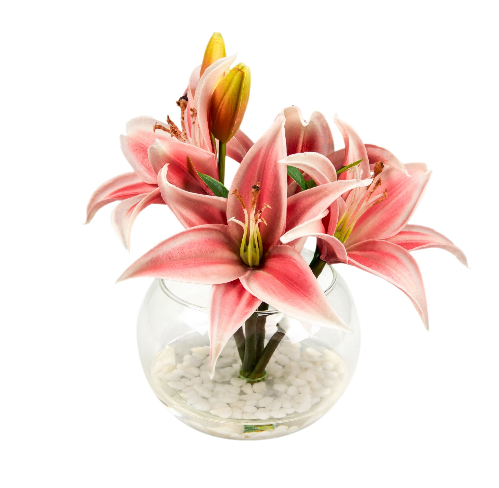 Charlton Home Blooms And Buds Lilies Floral Arrangement In Vase