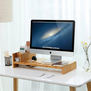 Rebrilliant Eurich Bamboo Monitor Stand Riser with Adjustable Storage