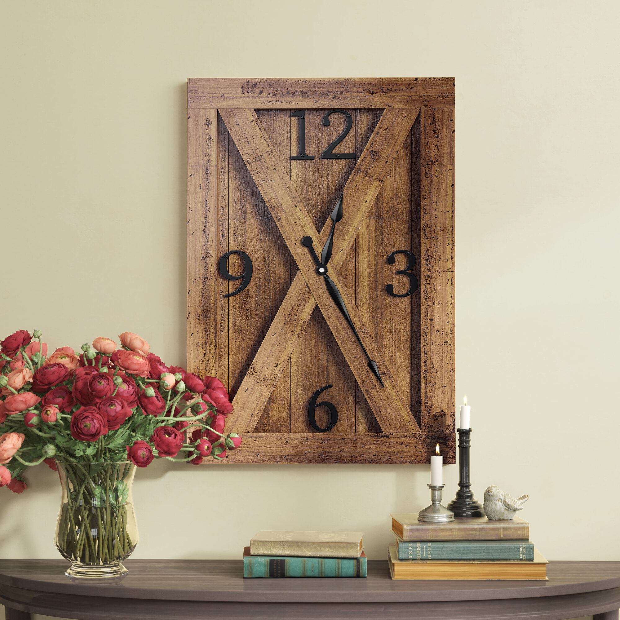 Gracie Oaks Oversized Farmhouse Wall Clock Reviews Wayfair