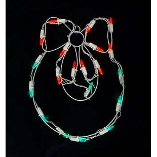 Sienna Lighting Battery Operated LED Wreath and Bow Christmas Window Silhouette