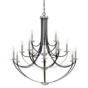 Best Reviews Siavash Mystic Black 15-Light Chandelier By Gracie Oaks
