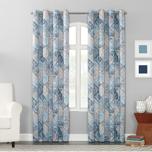 Minden Distressed Geometric Room Darkening Grommet Single Curtain Panel by Sun Zero