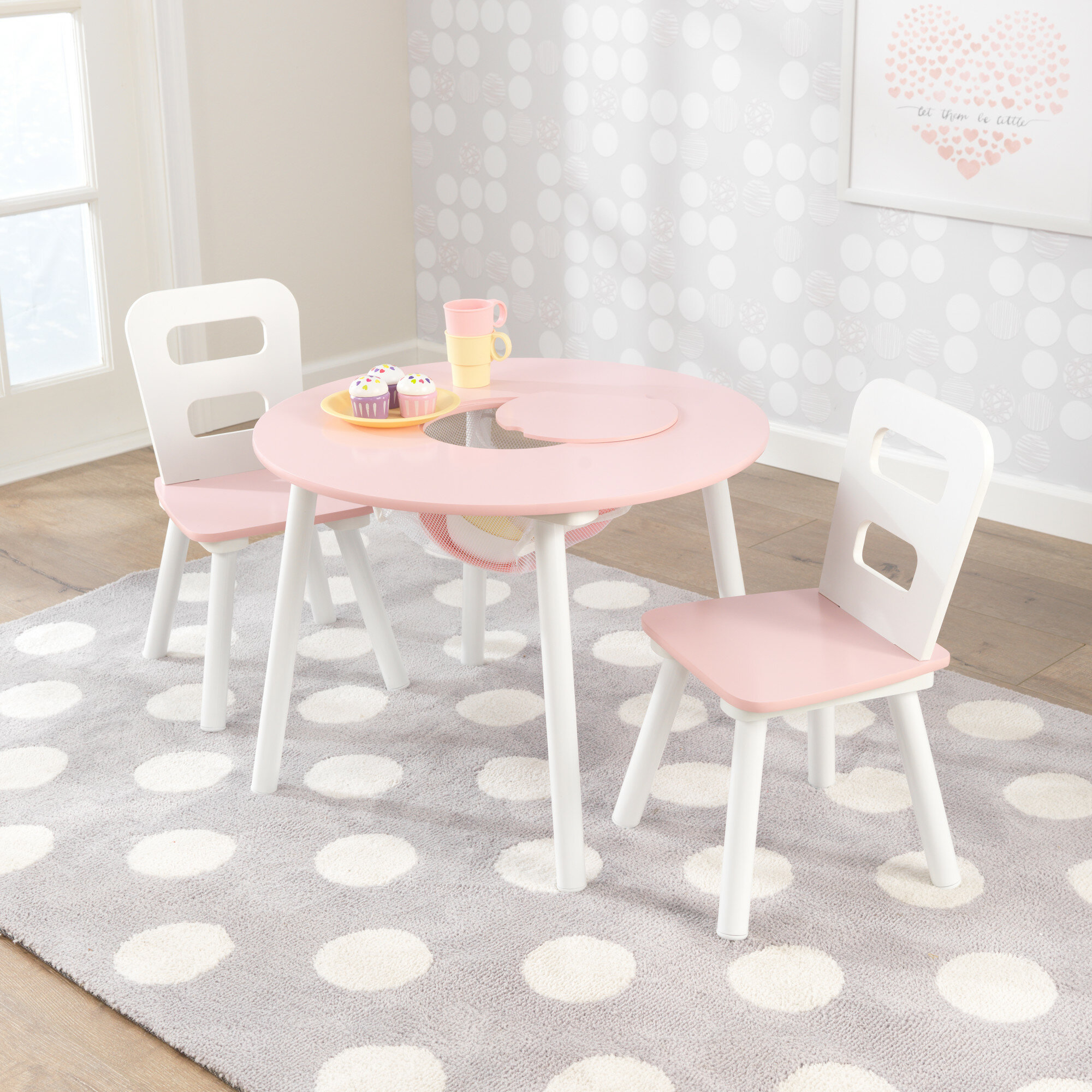 Kidkraft Round Table And 2 Chair Set Whitenatural.Round Storage Table 2 Chair Set