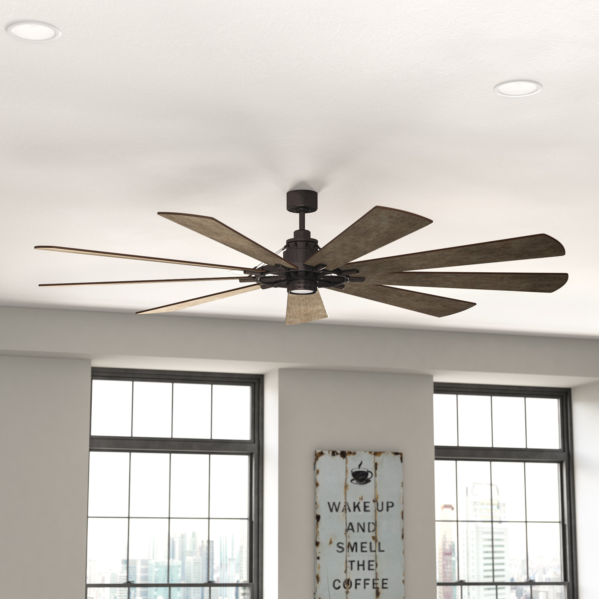 Greyleigh 85 Sophronia 9 Blade Led Windmill Ceiling Fan With Wall Control And Light Kit Included Reviews