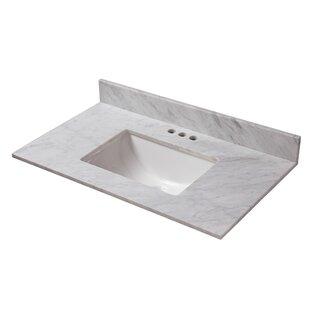 Reviews Marble 25 Single Bathroom Vanity Top ByCahaba
