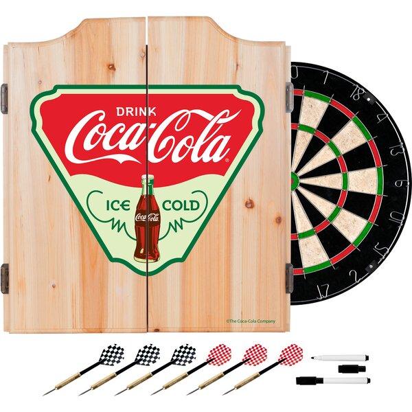 Trademark Global Coca Cola Ice Cold Dartboard And Cabinet Set Wayfair