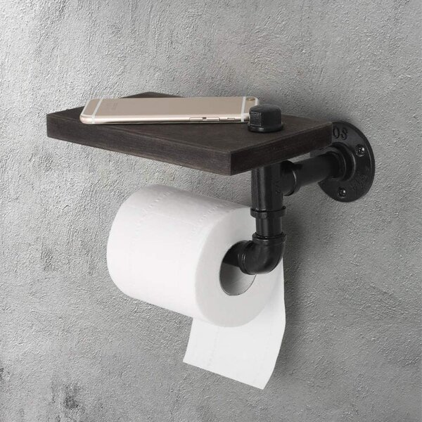 MyGift Industrial Pipe /& Burnt Wood Toilet Paper Dispenser with Roll Holder Holds 3 Rolls