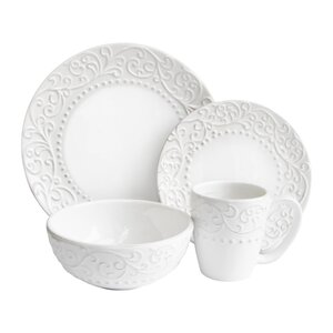 Yaelle Leaf Round 16 Piece Dinnerware Set, Service for 4
