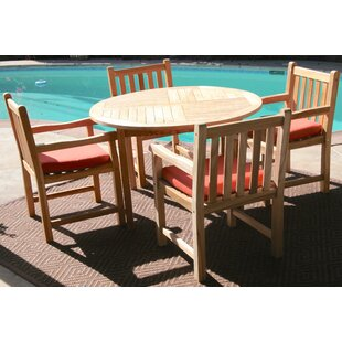 Trijaya Living Waterford 5 Piece Teak Dining Set with Sunbrella Cushions