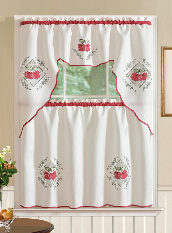 Apple 3 Piece Kitchen Curtain Set