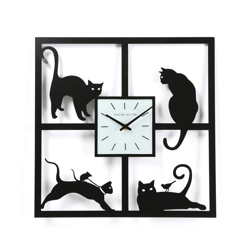 Mortensen Four Cats Wall Clock