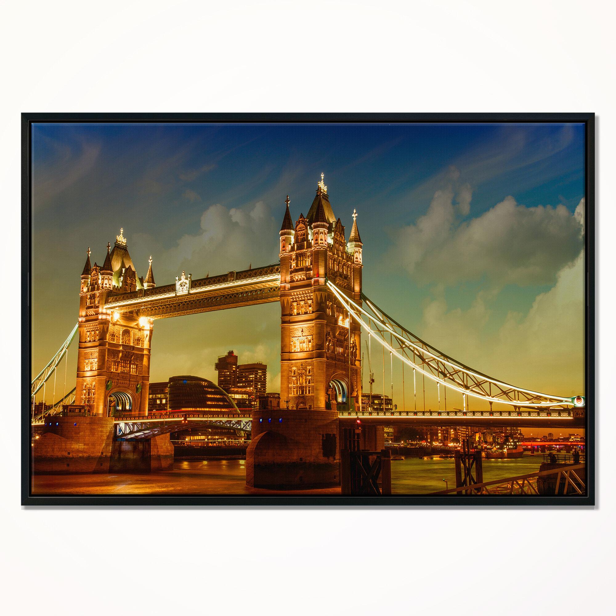 East Urban Home Majesty Of Tower Bridge Framed Graphic Art On Canvas Wayfair