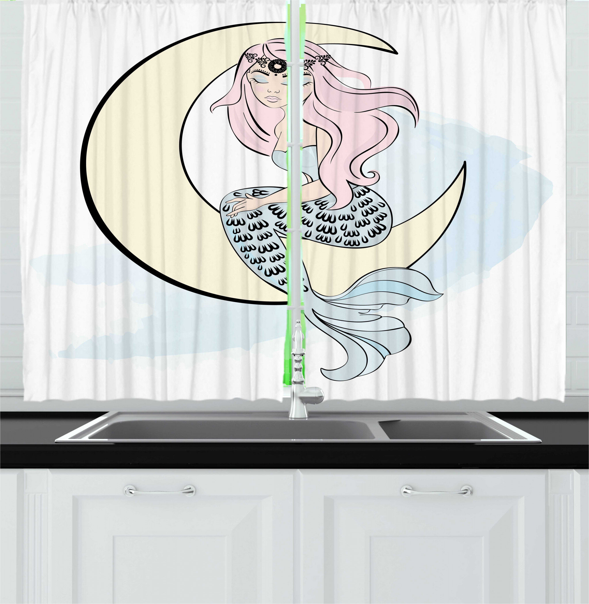East Urban Home 2 Piece Magic Moon Doodle Of Mermaid Girl Sits On Crescent Kitchen Curtain Set Wayfair