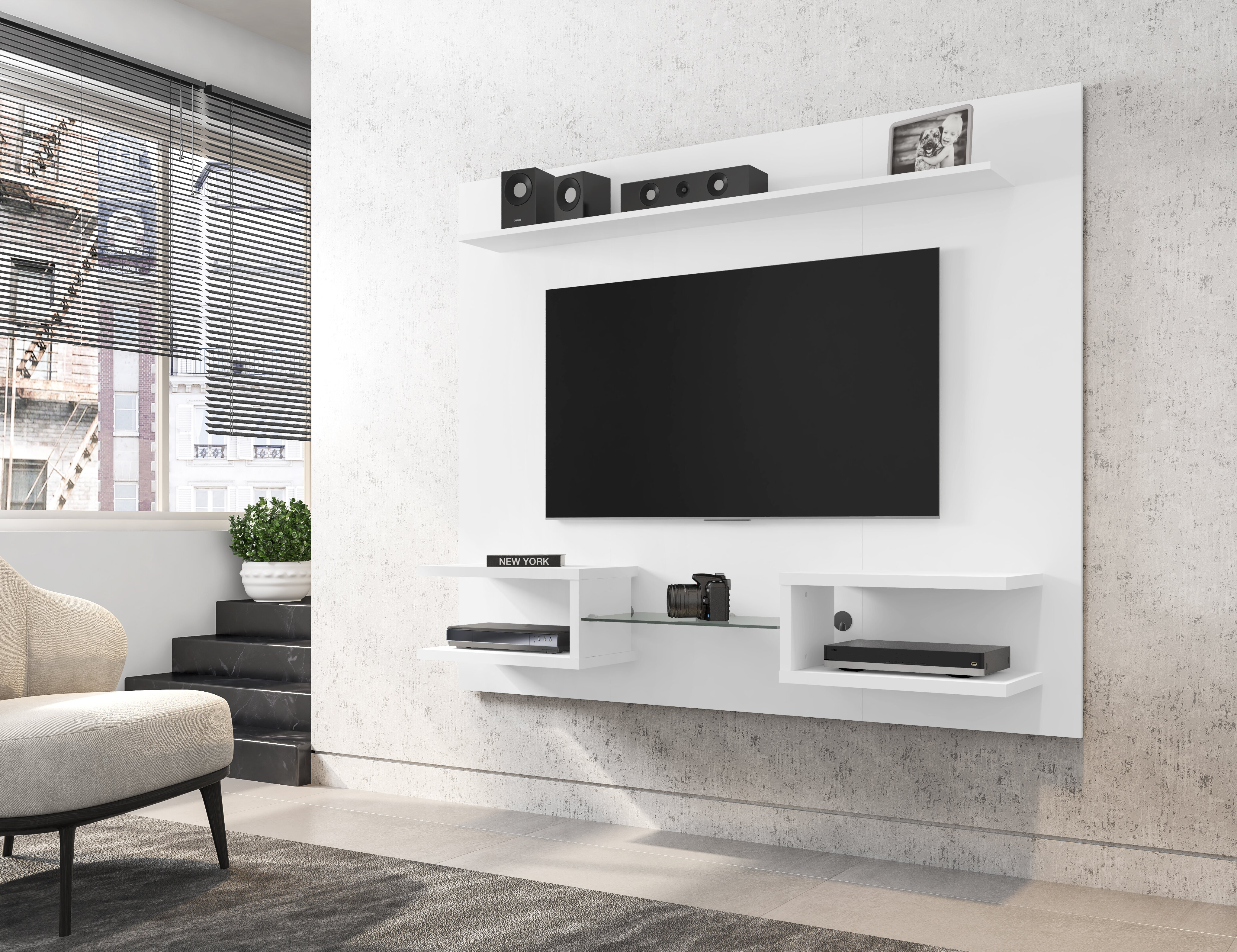 wrought studio torgerson 6425 modern floating wall entertainment centre with display shelves in off white c