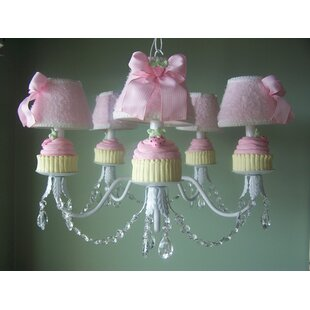 Silly Bear Lighting Yummy Cupcakes 5-Light Shaded Chandelier