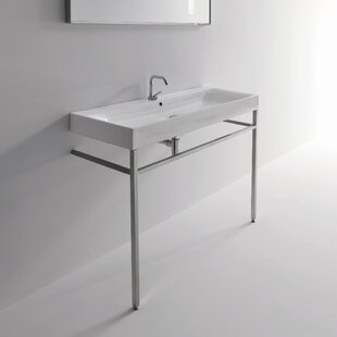 Inexpensive Cento Ceramic 48 Console Bathroom Sink with Overflow By WS Bath Collections