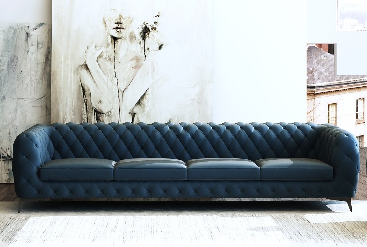Picture of: Everly Quinn Vennie Microfiber Chesterfield 121 Rolled Arm Sofa Wayfair