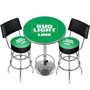 Bud Light 3 Piece Pub Table Set