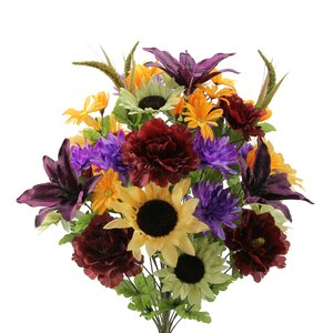 36 Stems Lily, Peony, Sunflower, Daisy, Mum Greenery with Foliage Mixed Flowers Bush for Home Office, Wedding, Restaurant Decoration Arrangement