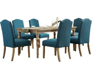 Atticus Solid Wood 7 Piece Dining Set Mistana