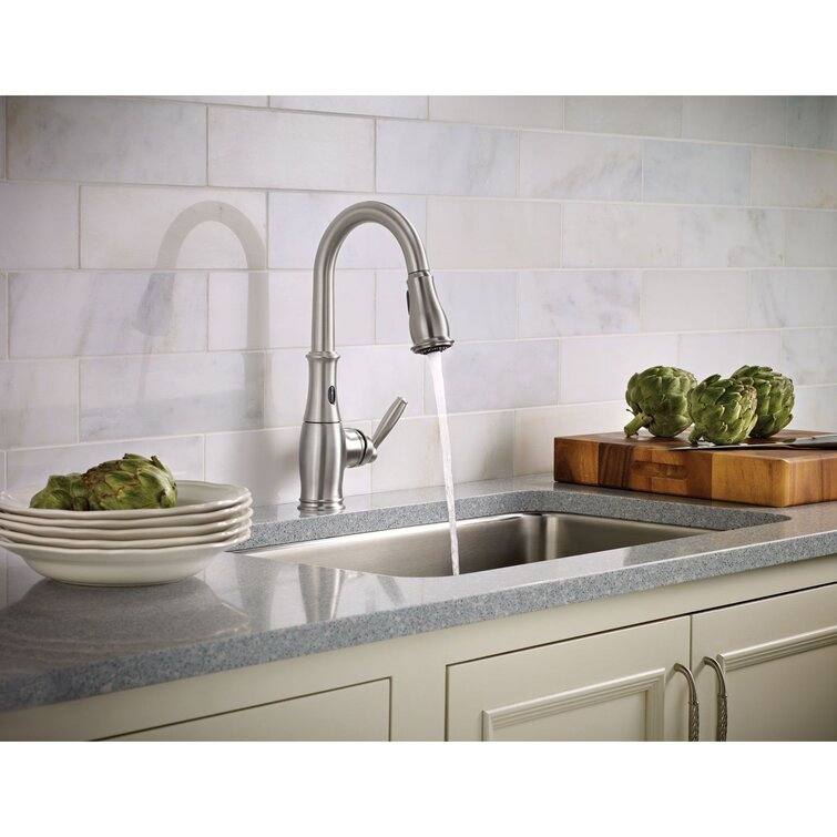 7185esrs C Orb Moen Brantford Pull Down Touchless Single Handle Kitchen Faucet Reviews Wayfair