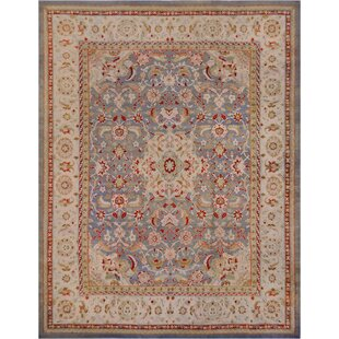 One-of-a-Kind Antique Agra Handwoven Wool Beige Indoor Area Rug by Mansour