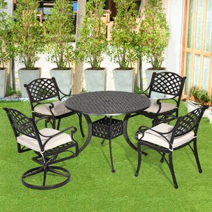 Fleur De Lis Living Greenlee 5 Piece Dining Set with Cushions