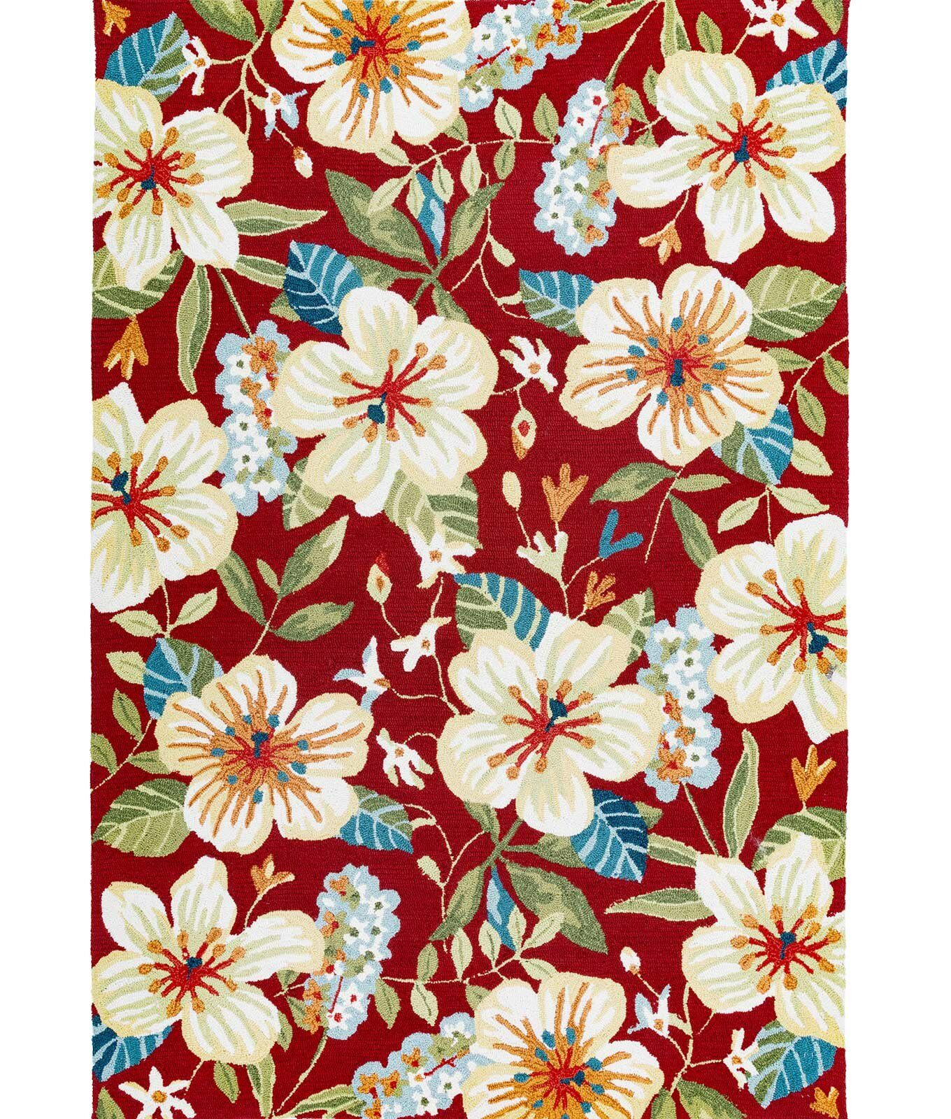 Bay Isle Home Sunday Floral Hand-Hooked Red/Beige/Teal