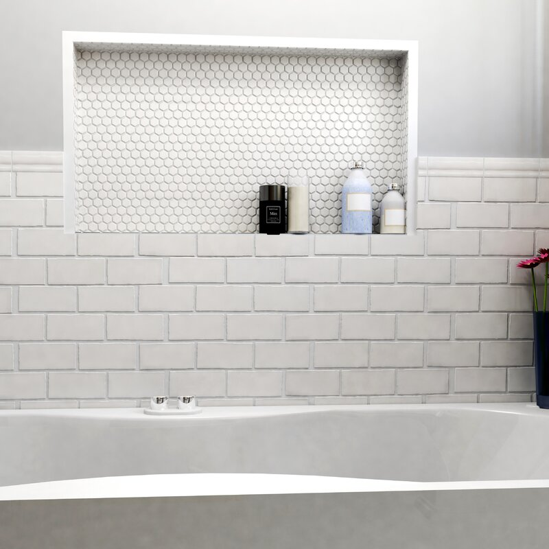 Elitetile Antiqua 3 X 6 Ceramic Subway Tile In Craquelle White