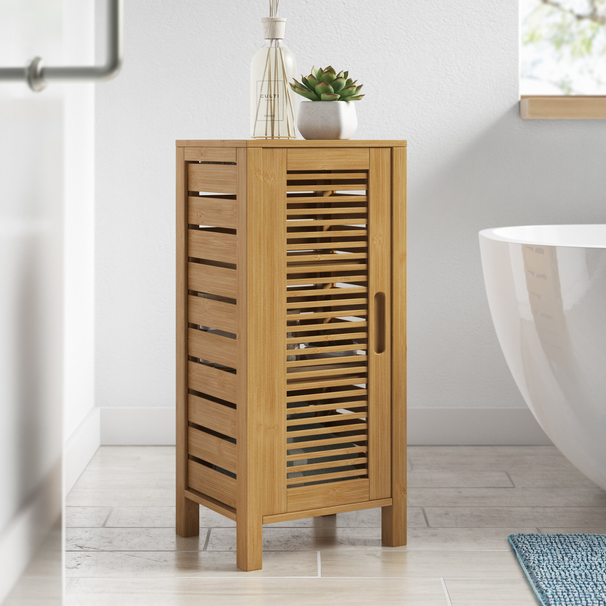 Picture of: Dotted Line Ayden 13 W X 28 5 H X 11 D Solid Wood Free Standing Bathroom Cabinet Reviews