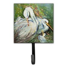 Egret in The Rain Leash Holder and Wall Hook by Caroline's Treasures
