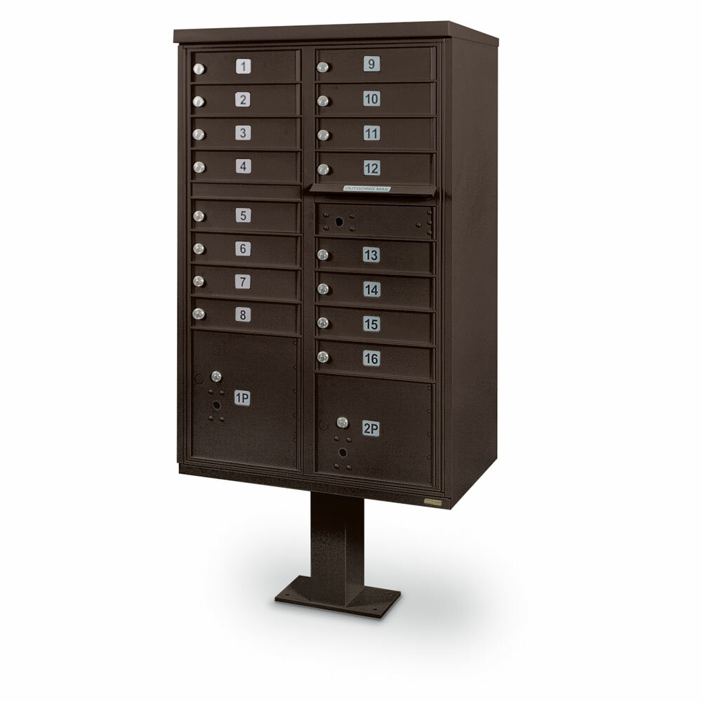 Postalproductsunlimitedinc 16 Door Front Load 4c Horizontal Multi Unit Mailbox With 2 Parcel Lockers Wayfair