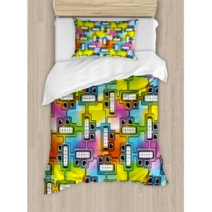 Colorful Hippie Digital Fun Characters with Eyes and Teeth Video Games Art Pattern Duvet Set by East Urban Home