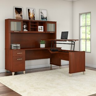 Whitehall Street Height Adjustable L-Shape Computer Desk With Hutch by Red Barrel Studio Amazing