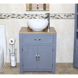 Shelby Solid Oak 70mm Free-Standing Vanity Unit By August Grove