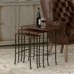 Compare prices Kew Gardens Leather 3 Piece Nesting Tables by Sarreid Ltd