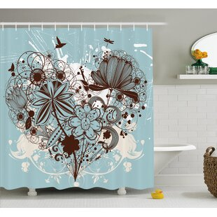 Floral Dragonfly Single Shower Curtain by East Urban Home