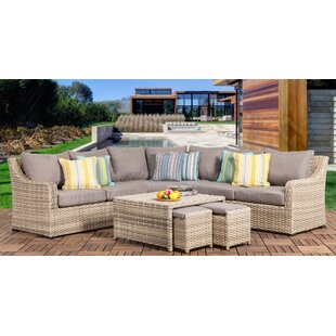 Rosecliff Heights Crowe 6 Piece Rattan Sectional Seating Group with Cushions