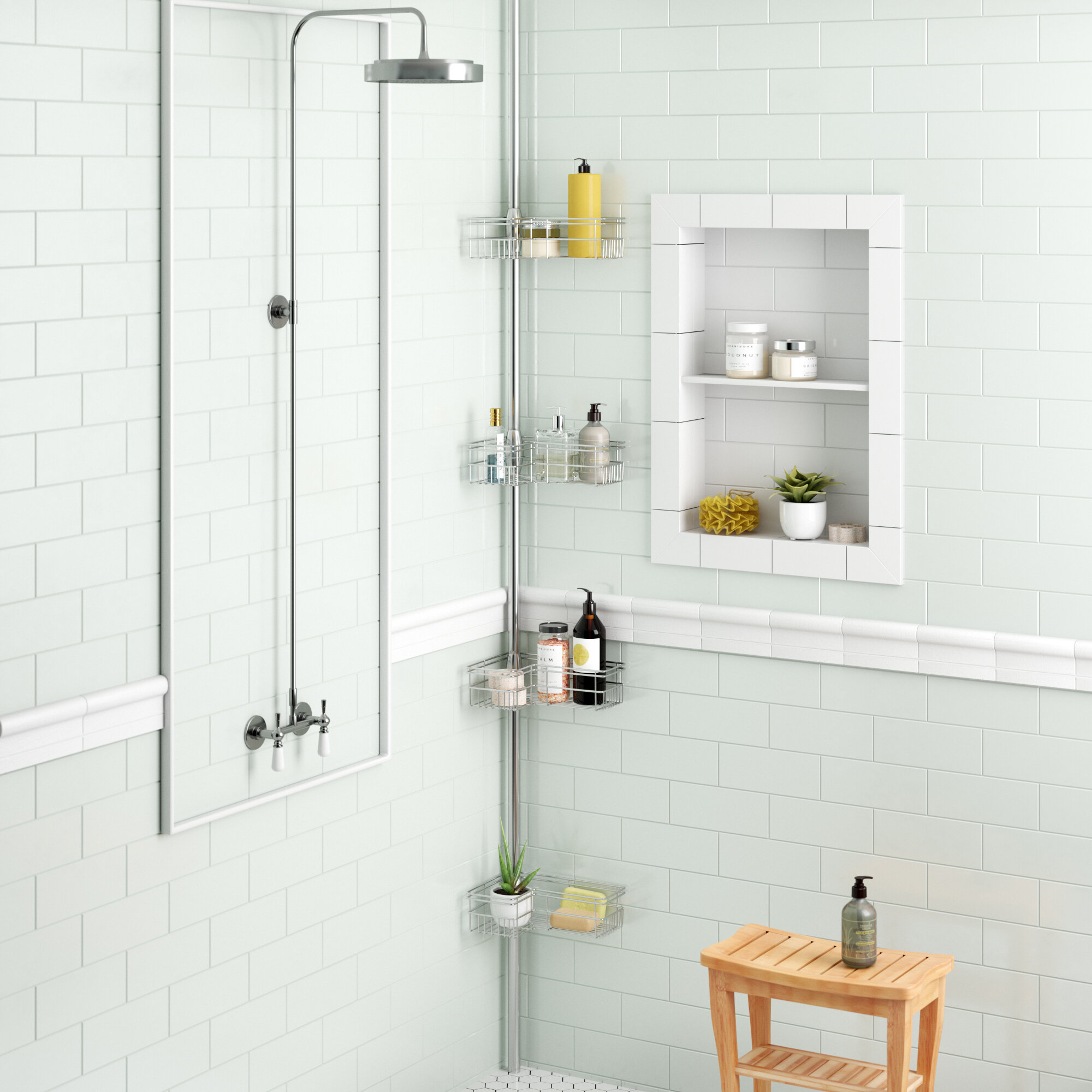 Zipcode Design Kohut L Shape Corner Shower Caddy & Reviews | Wayfair