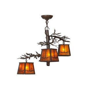 Meyda Tiffany Pine Branch Valley View 3-Light Shaded Chandelier