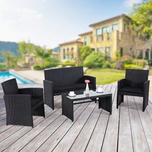 Maya 4 Piece Rattan Sofa Set with Cushions (Set of 4)