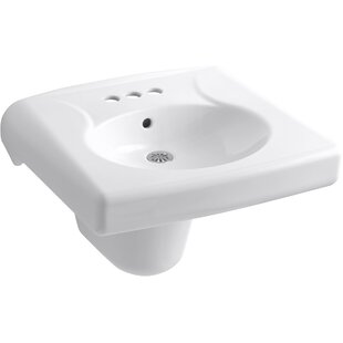 Kohler Brenham™ Wall-Mounted or Concealed Carrier Arm Mounted Commercial Bathroom Sink with 4-in Centerset Faucet Holes and Shroud, Antimicrobial Finish
