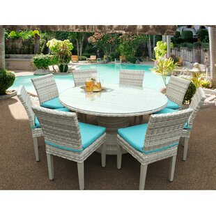 Ansonia 9 Piece Dining Set with Cushions By Rosecliff Heights