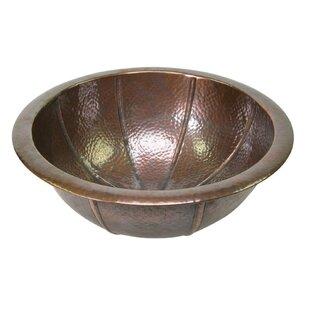 Affordable Price Hand Hammered Fluted Metal Circular Drop-In Bathroom Sink with Overflow By The Copper Factory