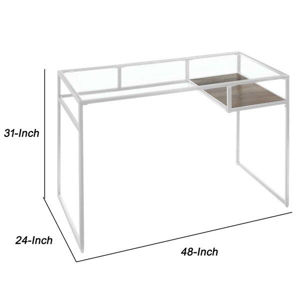 17 Stories Nelligan Glass Desk Wayfair