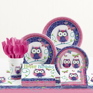 81 Piece Owl Pal Birthday Birthday Paper/Plastic Tableware Set